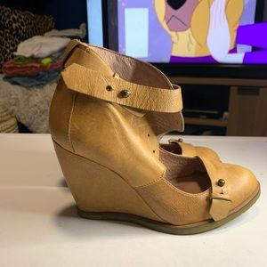 NBW Anthropologie Leather Wedges Booties